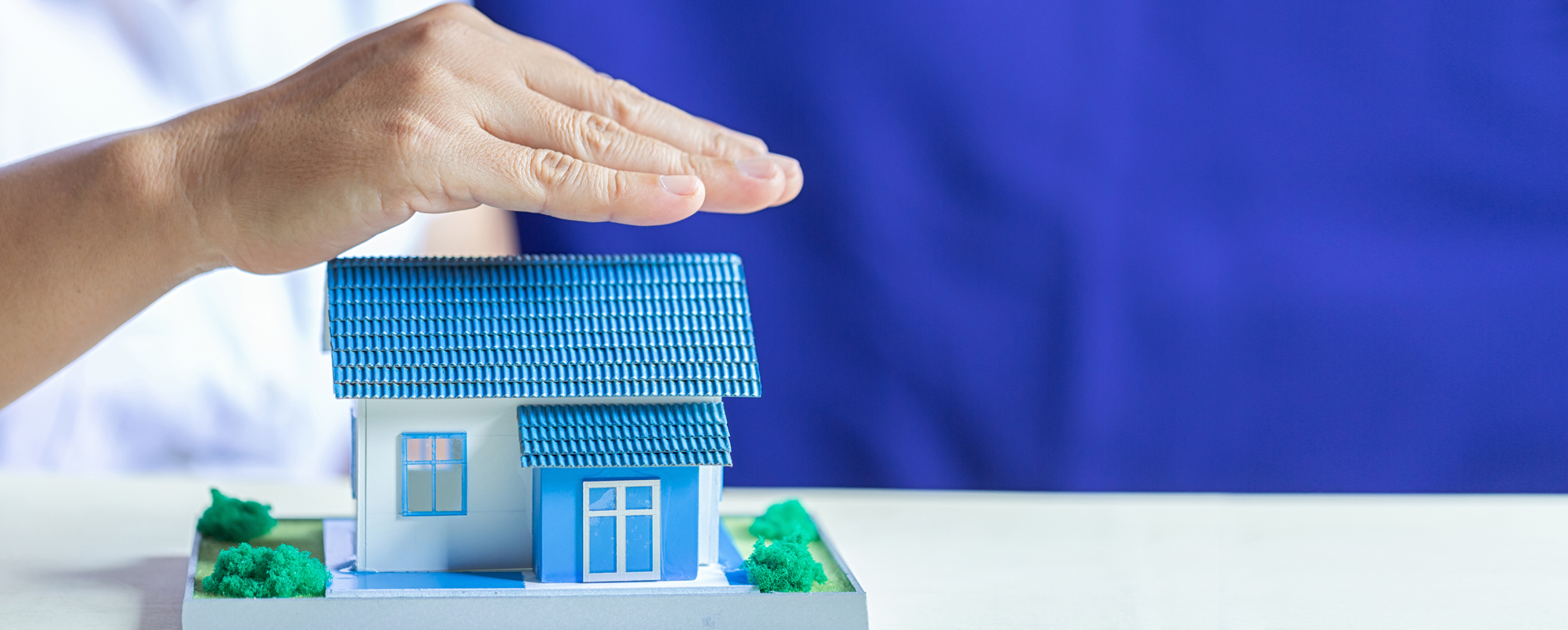 Hand protects small model house