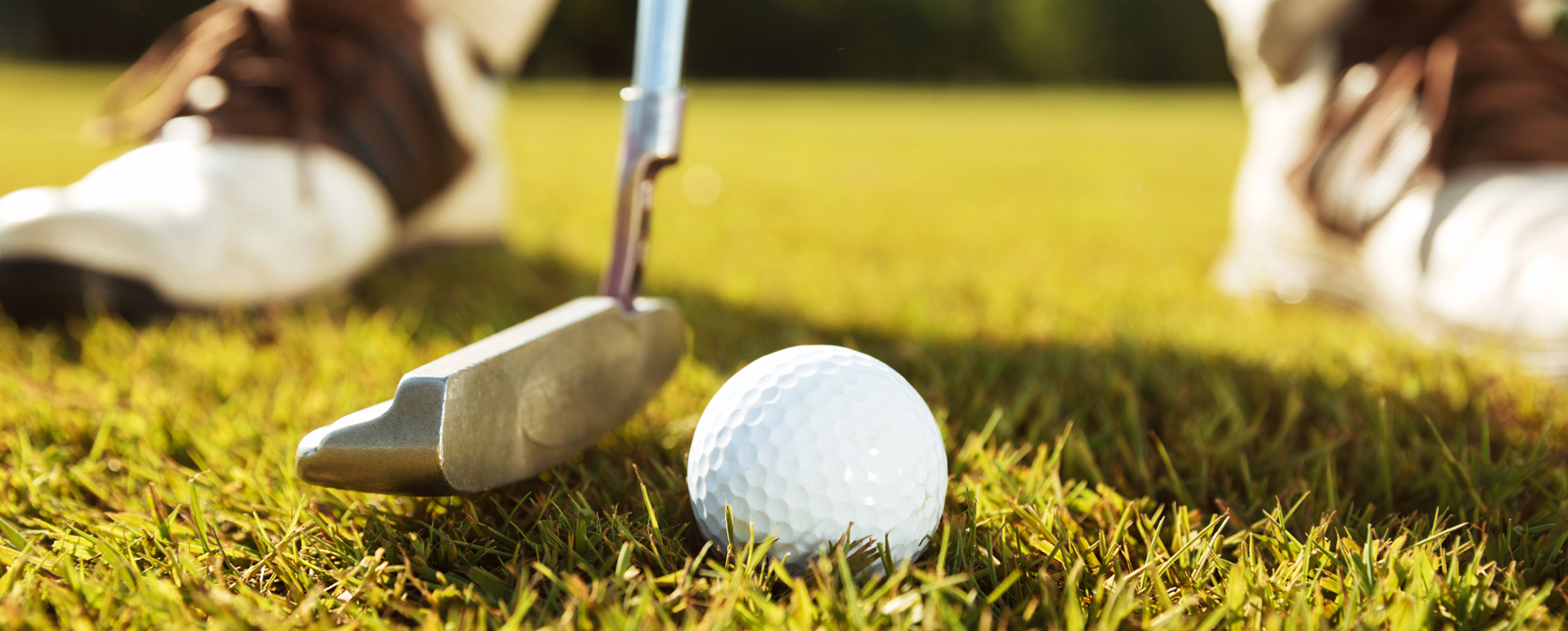 Stock photo of golf club and gold ball