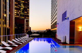 Luxury apartment with outdoor rooftop pool in city