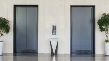 Pair of lifts in lobby