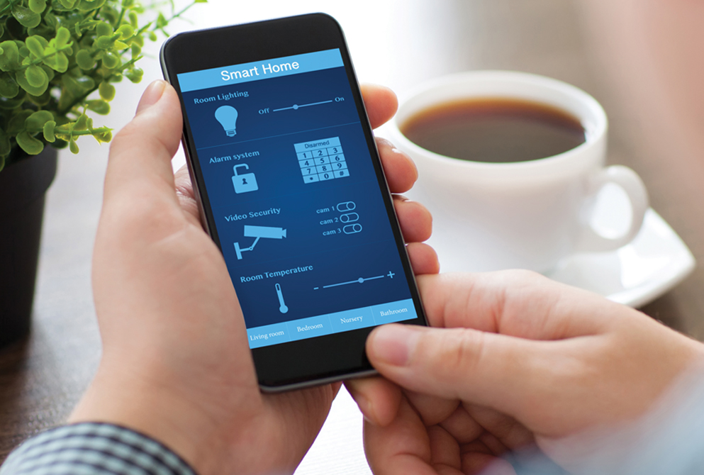 Stock image of smart home interface on phone
