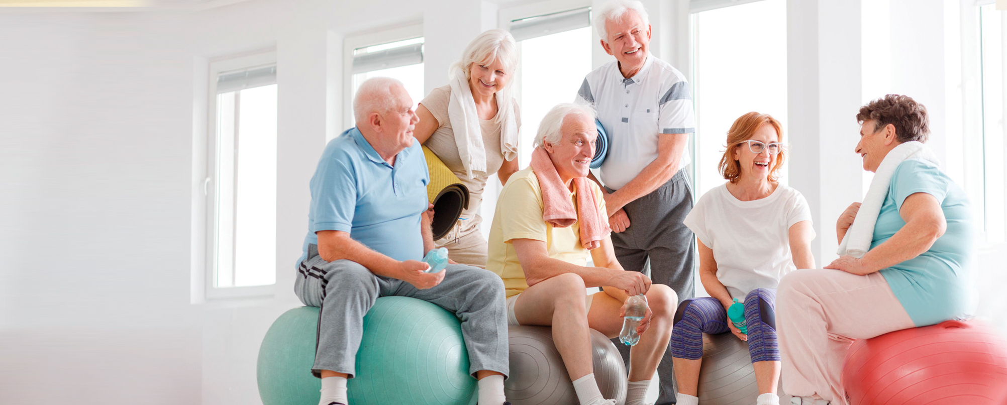 Happy group of active seniors sitting on and around exercise balls
