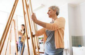 Seniors panting on a canvas