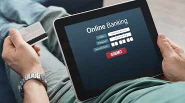 Online banking on a tablet