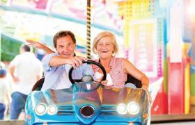 seniors having fun in a go cart