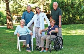 Seniors with their home care agency