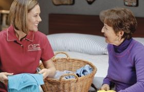Seniors receiving care with household activities