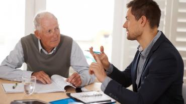 Senior receiving a consultation