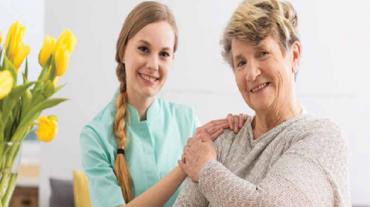 Senior receiving care