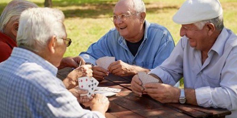 Seniors playing card games