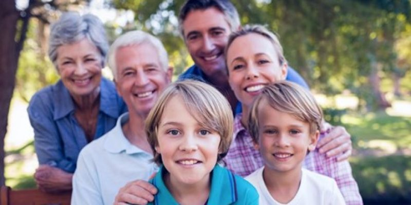 senior with their family