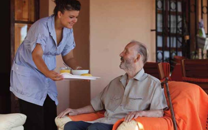 Senior receiving in home care